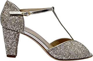 ANNIEL Women's 1782LMCPCP Silver Leather Heels