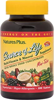 NaturesPlus Source of Life Mini-Tabs - 180 Vegetarian Mini Tablets - Easy to Swallow Whole Food Multivitamin with Chelated Minerals, Energy Booster - Gluten-Free - 30 Servings