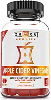 Zhou Nutrition Zhou Nutrition Apple Cider Vinegar Gummies with The Mother - Acv Vegan Detox Cleanse, Apple, 60 Gummies, 60 Count