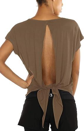 icyzone Camiseta Deportiva de Manga Corta de Espalda Abierta para Mujer