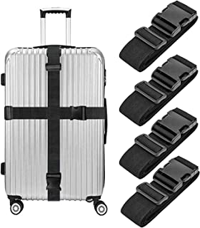 4 Pack Luggage Straps, Heavy Duty Non-Slip Adjustable Travel Accessories Suitcase Baggage Belts Bag Bungee