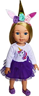 Brittany's Purple Unicorn Outfit Fits Wellie Wisher Dolls, Hearts for Hearts and Glitter Girl Dolls-14 Inch Doll Clothes