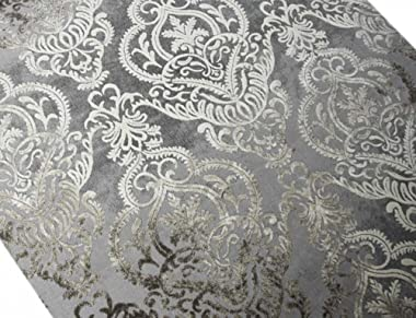 CARPETIA Tapis Moderne Tapis du Salon Baroque Ornements Gris Taupe Brun Größe 200 x 290 cm
