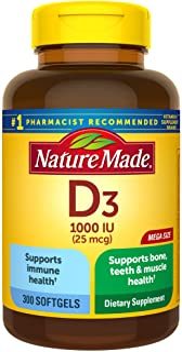 Nature Made Vitamin D3, 300 Softgels, Vitamin D 1000 IU (25 mcg) Helps Support Immune Health,...