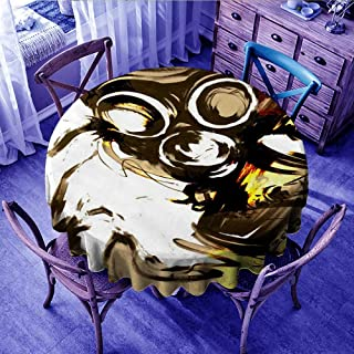 """FYLART Christmas Tablecloth roll Personal Protective Equipment Illustration Mask Art Headgear Drawing Gas mask Fictional Character Gr,Diameter 60"""" Outdoors Round Tablecloth"""