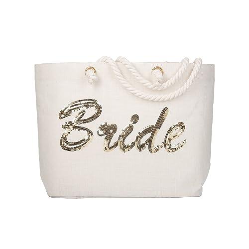 b6d0e9d9ad6b ElegantPark Personalized Bride Jumbo Tote Bag Gold Sequin Wedding Bridal  Shower Bachelorette Gift 100% Jute