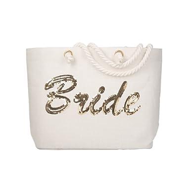 ElegantPark Personalized Bride Jumbo Tote Bag Gold Sequin Wedding Bridal Shower Bachelorette Gift 100% Jute with Handle and Interior Pocket