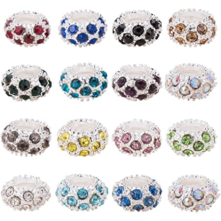 Sparkling Resin Rhinestone Iridescent  Large Hole Rondelle Spacer Beads Your Choice of Color