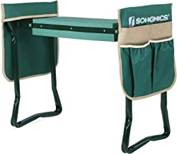 SONGMICS Folding Garden Kneeler, with Upgraded Thicken Kneeling Pad and 2 Upgraded Large Tool Pouches, 330lb Capacity, Gardening Gift UGGK50L