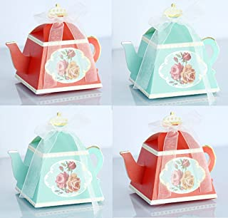 TECH-P Creative Life 50Pcs/Pack (25 Red+25 Green) Mini Teapot Shape Wedding Favors Candy Boxes Gift Box Party Favor Boxes with Ribbons for Wedding, Party Decorations