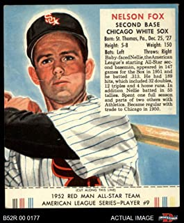 1952 Red Man # 9 AL Nellie Fox Chicago White Sox (Baseball Card) (With Tab) Dean's Cards 2 - GOOD White Sox