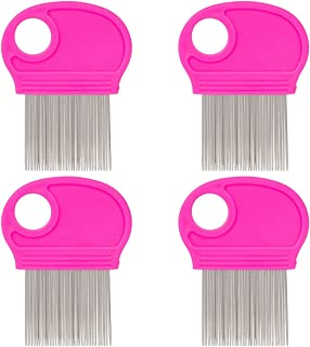 4 Pack Lice Combs, Nit Remover with Metal Teeth and Magnifier Tool for Hair and Head (Pink)