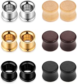 Stainless Steel Double Flared Tunnels Wood Plug Ear Gauges Earrings Saddle Plugs and Tunnels for Ears (0g,00g,8mm,10mm,6 Pairs)