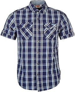 Mens Lee Cooper Chest Pockets Short Sleeve Checked Cotton Shirt Top (Medium, Navy Blue White)