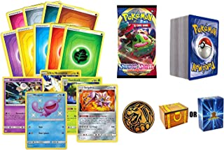 100 Assorted Pokemon Cards: 5 Rares, 5 Energy, 90 Assorted Cards, 1 Pack of Pokemon Swords and Shield, and 1 Pokemon Coin ...
