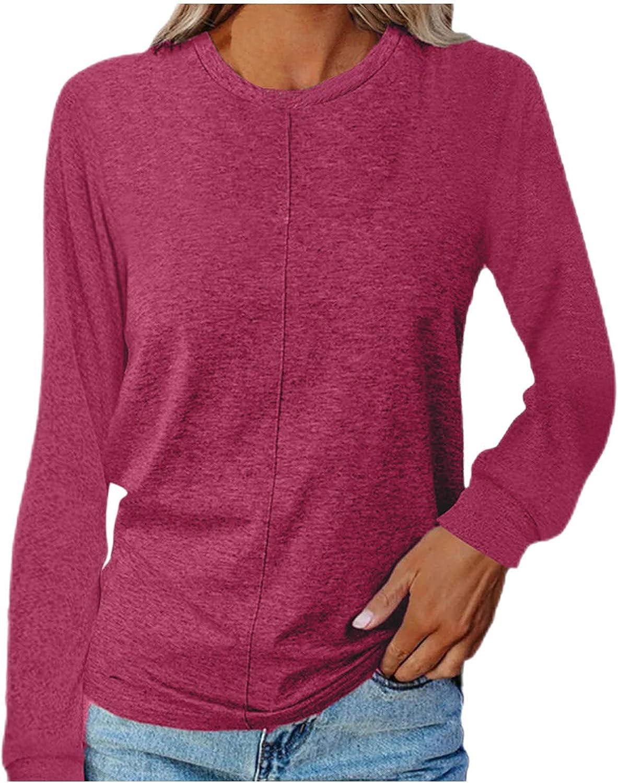 WYBAXZ Casual Loose Shirts for Women, Fall Fashion Top Baggy Tee Shirt Cute Women's Comfy Long Sleeve Tunics Tops