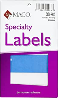 MACO from/to Mailing Labels, 3 x 4 Inches, 60 Per Box, Blue and White (OS-280)