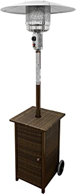 Hiland HLDS01-WHSQ Tall Squa Wicker Propane Patio Heater with Wheels, 48,000 BTU, Brown