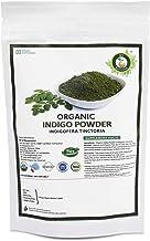 R V Essential Organic Indigo Powder 200gm/ 7.05oz/ 0.44lb Indigofera Tinctoria Natural Indigo Leaf Powder For Hair USDA Organic Certified Ayurvedic Supplement in Resealable and Reusable Zip Lock Pouch