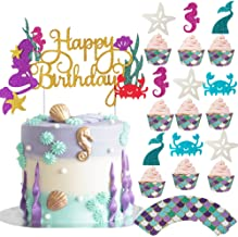 Bestus Mermaid Cake Topper, Cupcake Toppers + Wrappers 49pcs Kit | Cake Decoration Set for Little Mermaid Party Theme, Bab...