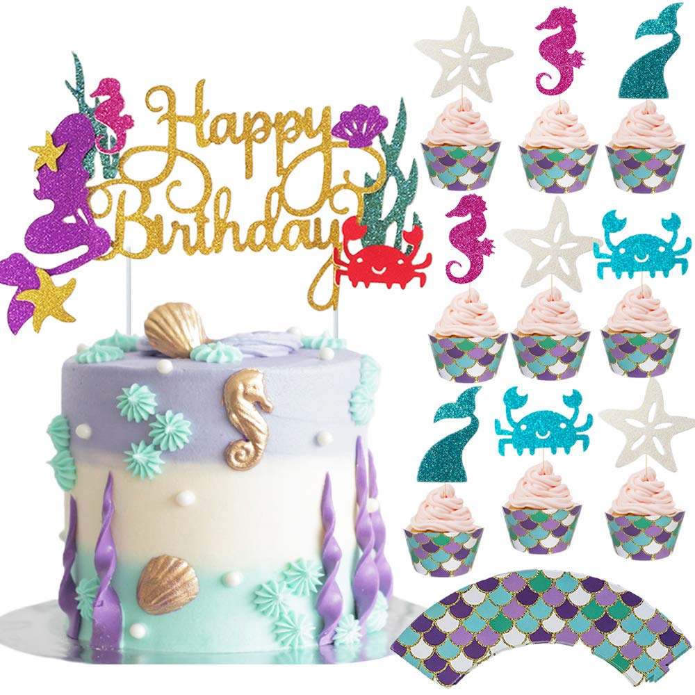 Mermaid Cake Topper Little Mermaid Decor Mermaid Theme Party Under The Sea Decor Cake Party Girls Mermaid Cake Toppers Customizable