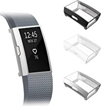 Fintie [3 Pack] Compatible with Fitbit Charge 2 Case, Full-Around Screen Protector TPU Case Cover Bumper Shell for Fitbit Charge 2, Black, Silver, Clear