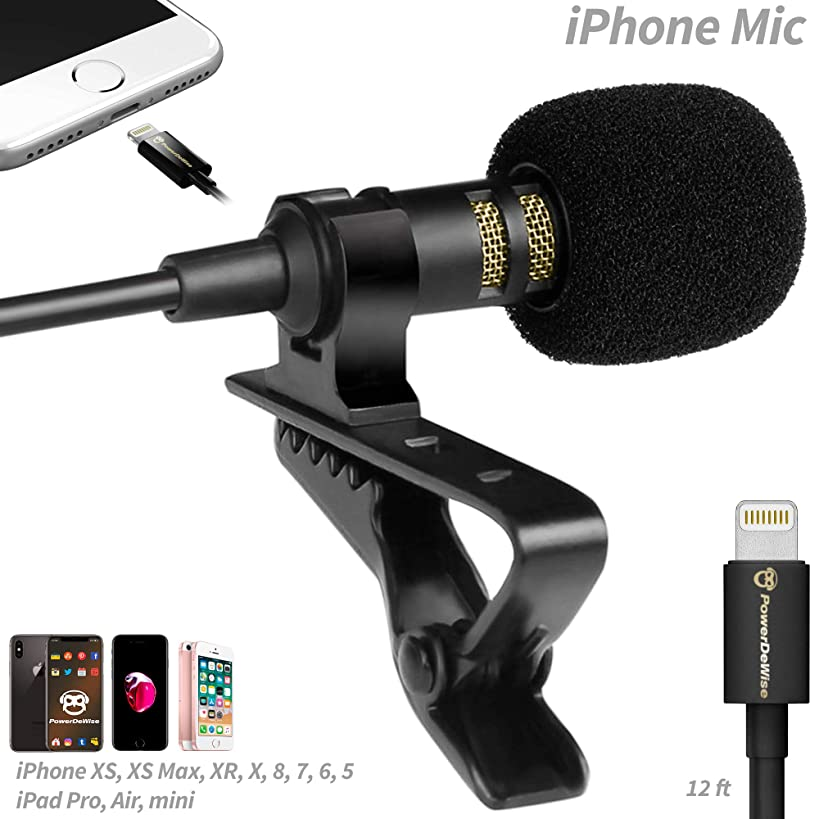 PowerDeWise Microphone for iPhone with Lightning Connector - iPhone Lightning Microphone - Excellent Mic iPhone 6 7 8 X