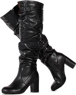 c273c3cf388 RF ROOM OF FASHION Women s Slim to Medium Calf Chunky Heel Slouchy Knee High  Dress Boots