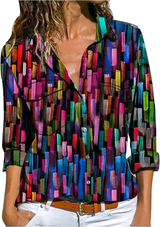 TEVEQ Women's Casual Tunic Print Long Sleeve Blouse V Neck Button Down Shirts Tops
