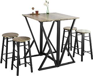 SoBuy® OGT24-N Set de 1 Table + 4 Chaises Ensemble Table de Bar bistrot + 4 tabourets Table Mange-Debout Table Haute Cuisi...