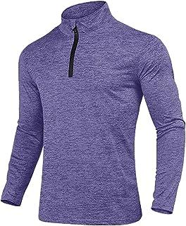 KEFITEVD Men's Spring Autumn 1/4 Zip Sports Tops Casual Long Sleeve Gym Running Polo Shirts Outdoor Warm Hiking Fishing Sh...