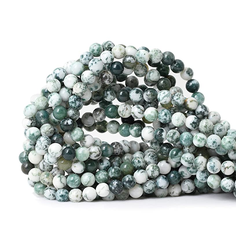 Qiwan 60PCS 6mm Natural Tree Agate Gemstone Round Loose Beads for Jewelry Making DIY Bracelet Necklace 1 Strand 15