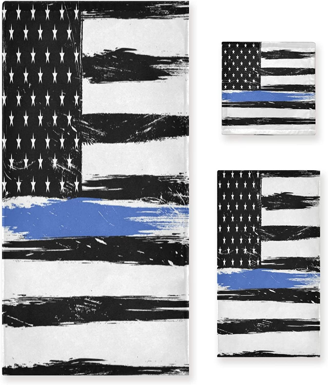 favorite WELLDAY USA Flag Blue Line safety Towels Soft Bath Absorbent Towel