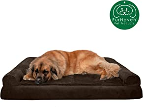 Furhaven Pet Dog Bed | Orthopedic Plush Faux Fur & Suede Sofa-Style Traditional Living Room Couch Pet Bed w/ Removable Cover for Dogs & Cats - Available in Multiple Colors & Styles