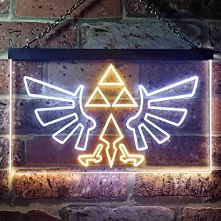 zusme The Legend of Zelda Triforce Novelty LED Neon Sign White + Yellow W16 x H12
