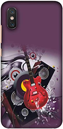 Printfidaa Guitar Icon Acoustic Musical Instrument Sign in Purple Background Printed Designer Hard Back Case for Xiaomi Mi 8 Pro Back Cover