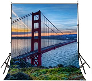 Lyly County 5x7ft Photography Backdrops San Francisco Golden Gate Bridge Backdrop for Picture Studio Photo Props LY012