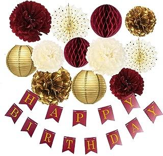 Burgundy Gold Birthday Party Decorations Burgundy Gold Happy Birthday Banner Tssue Pom Pom Honeycomb Balls Polka Dot Fans for Burgundy Fall Birthday Party Supplies/30th Birthday Decorations