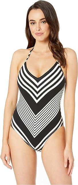 d9f6b8d390ca4 La Blanca Tahitian Stripe Lace-Up Mio One-Piece Swimsuit at Zappos.com