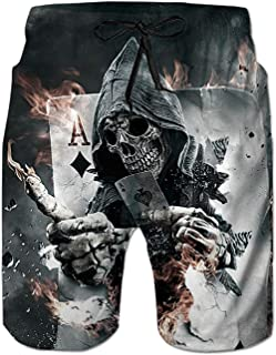 Pirate Skull and Compass Men Summer Casual Swim Trunks Shorts Quick Dry Swim Trunks with Pockets