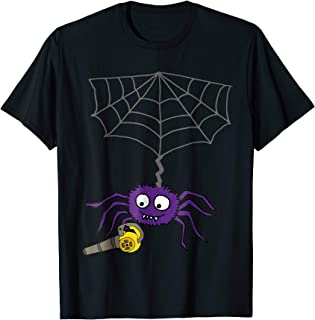 Cool Funny Purple Spider Using Leaf Blower with Web Cartoon Animals 3dRose All Smiles Art T-Shirts
