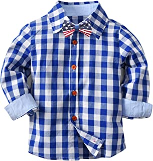 Boys Long Sleeve Plaid Shirt Button Down Woven Pocket Shirt Size 2-8