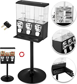 VBENLEM Triple Head Candy Vending Machine with Stand Triple Pod Candy Gumball Vending Machine on Stand Commercial 3-Containers Gumball Bank Gumball Bank (Black)