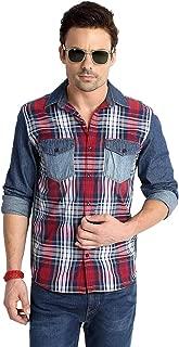 RODID Men's Printed Regular Fit Casual Shirt (RD13A0BC_Indigo Blue_Medium)