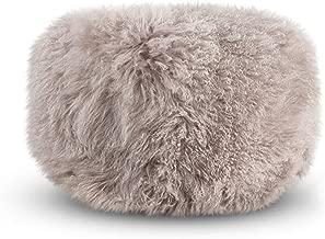 SARO LIFESTYLE Real Mongolian 100% Wool Lamb Fur Pouf Ottoman, 18 x 18, Fog