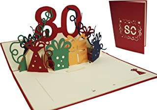 LIN - Pop Up 3D Greeting Card for a 80th Birthday, 80th birthday party, N203