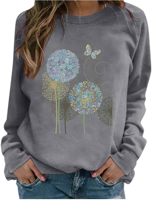 Toeava Long Sleeve Shirts for Women Casual Dandelion Graphic Tee Shirts Crew Neck Sweatshirts Pullover Sport Tunic Tops