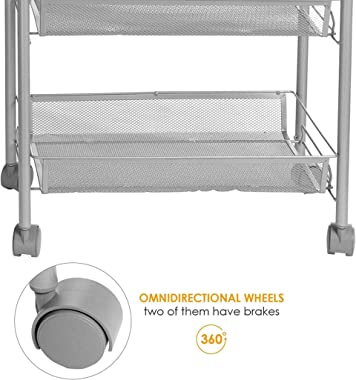 Fetpo 3-Tier Metal Rolling Cart on Wheels with Baskets, Lockable Utility Wire Basket Trolley for Kitchen Bathroom Closet, Sto