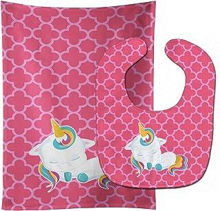 Caroline's Treasures Unicorn Baby Bib & Burp Cloth, Quatrafoil Pink, Large