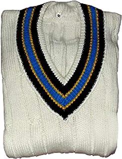 CW Men CLASSICE Cricket Sweater Winter Woolen White V Neck Sweatshirt Full Sleeve/Without Sleeve Sweater